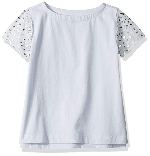 LOOK by Crewcuts Girls' Sequin Sleeve Tee, Blue/Silver, Small ()