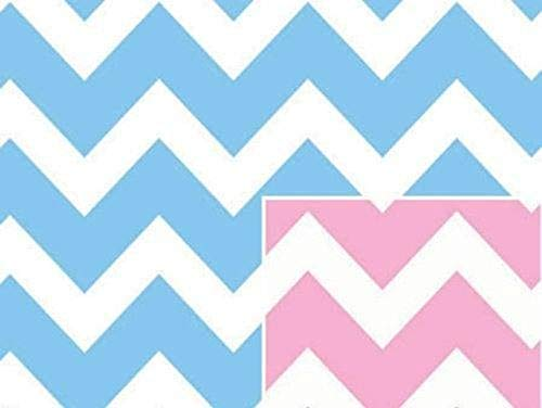 Reversible Pink or Blue Chevron Stripe Baby Girl or Boy Gift Wrap Wrapping Paper 16 Foot Roll