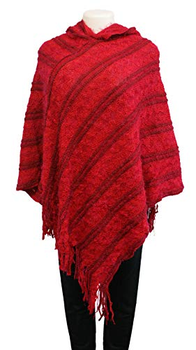 Best Red Long Plaid Tassel Pullover Hooded Poncho Wrap Sweater Cute Fashion Travel Formal Party Warm Winter Evening Loose Dress Shawl Stocking Stuffer Gift Idea for Women Teen Girl (Style (New Kids Socks Horse)