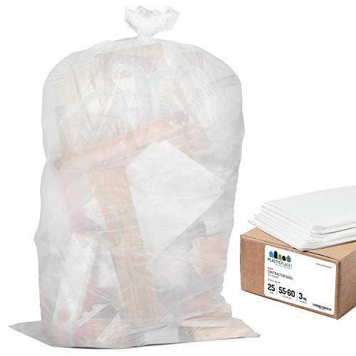 "Plasticplace Contractor Trash Bags 55-60 Gallon │ 3.0 Mil │ Clear Heavy Duty Garbage Bag │ 37.5"" x 56.6"" (25 Count)"