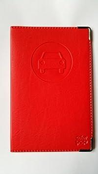 Porta documenti per auto completo in simil pelle rosso vivo