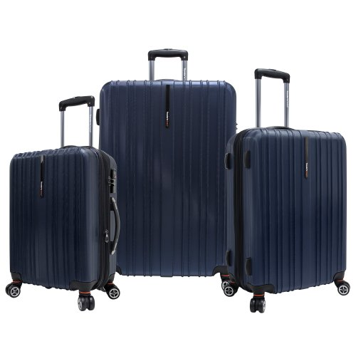 Travelers Choice 21 Inch - Traveler's Choice Tasmania 100% Polycarbonate Durable Hardshell Expandable 8-Wheel Spinner 3-Piece Luggage Set, Navy (21