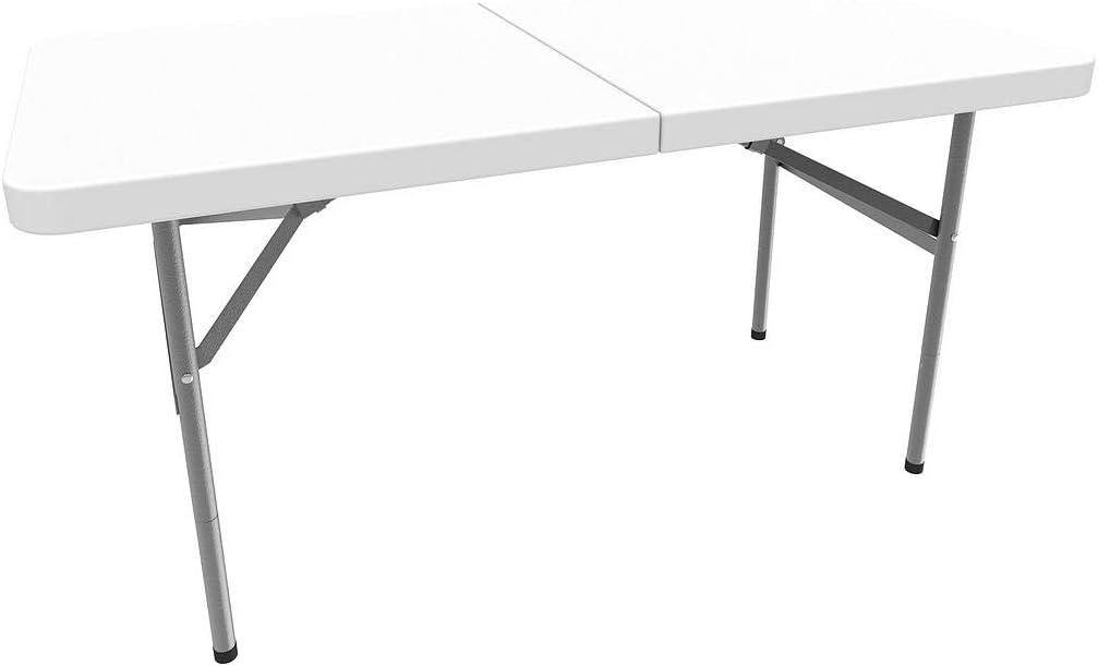 Todeco - Mesa Plegable Portátil, Mesa de Plástico Resistente - Material: HDPE - Carga máxima: 100 kg - 122 x 61 cm, Blanco, Plegable por la mitad: Amazon.es: Jardín