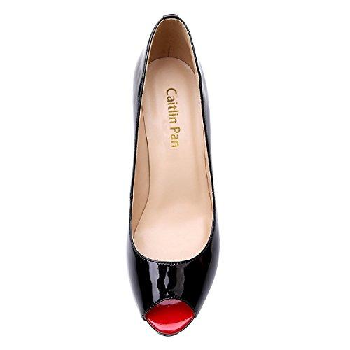 35 Open Caitlin 15cm 3cm red 45 Escarpins Chaussures Toe Plateforme Talon Peep Femmes Pan Black ZZTqvP