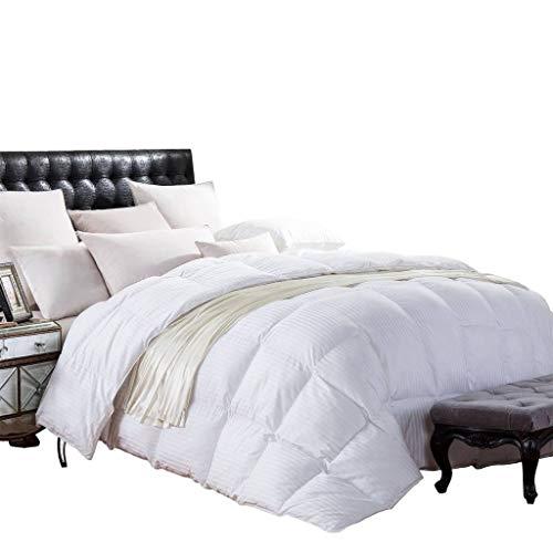 CAL KING Size 1200 Thread-Count Siberian GOOSE DOWN Comforter, 100% Egyptian Cotton, White Stripe, 750FP & 50Oz
