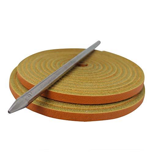 TOFL Highland Group, Baseball and Softball Glove Lace Kit, 2 Leather Laces, Leather Lacing Needle (Orange-Natural)