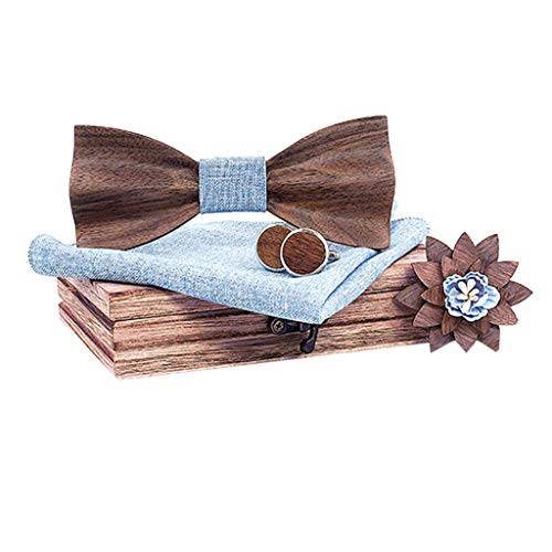 BXzhiri Mens Wooden Bow tie Set with Matching Pocket Square Cufflinks Men' s Formal Bow Tie Classic Handmade Craft