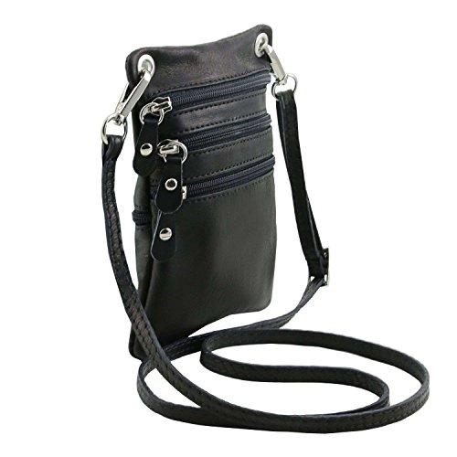 Negro Leather Hombre Tuscany De Hombro Unique Bolso Al Piel Taille Para aRqR4pw