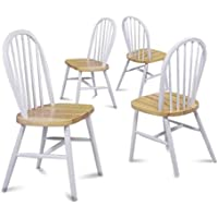 Set of 4 Natural White Finish Spindle Back Kitchen Dining Chairs