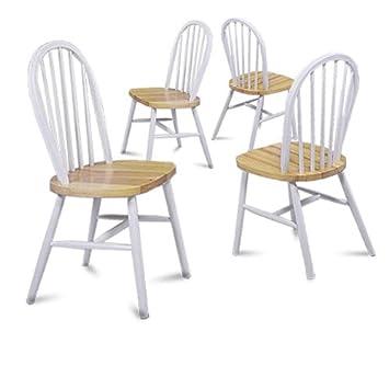 Awe Inspiring Amazon Com Set Of 4 Natural White Finish Spindle Back Pdpeps Interior Chair Design Pdpepsorg