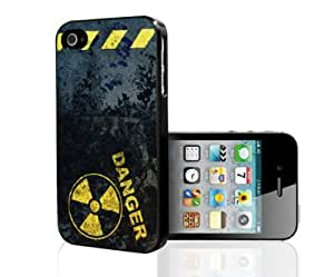 Danger with Yellow Hazard Rubber Silicone TPU Cell Phone Case (iPhone 4 4s)