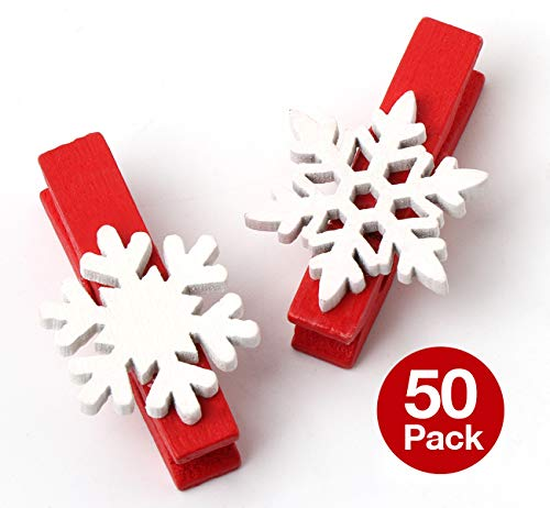ilauke 50Pcs Christmas Wooden Clothespins Mini Snowflake Clothespin Clips Christmas Cards Photo Paper Crafts (1.38 Inch) -
