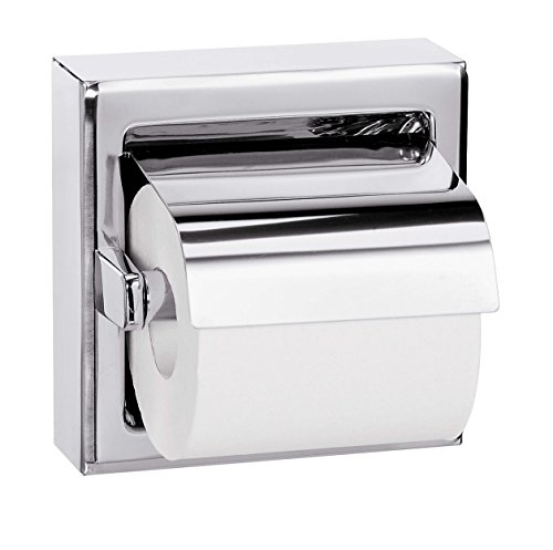 Bradley 5106-000000 Stainless Steel Surface Mounted Hinged Hood Single Roll Toilet Tissue Dispenser, 6-3/8