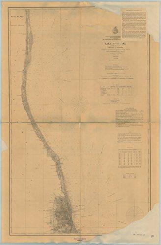 8 x 12 inch 1897 US old nautical map drawing chart of LAKE MICHIGAN CHICAGO TO KENOSHA From Lake Survey - Michigan Chicago Map