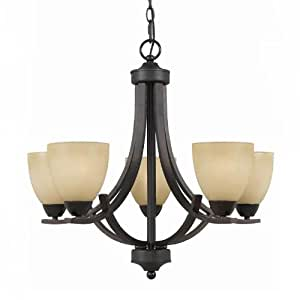 Triarch International 33243 Value Series 240 Collection 5-Light Chandelier, English Bronze with Antiqued Cognac Painted Glass