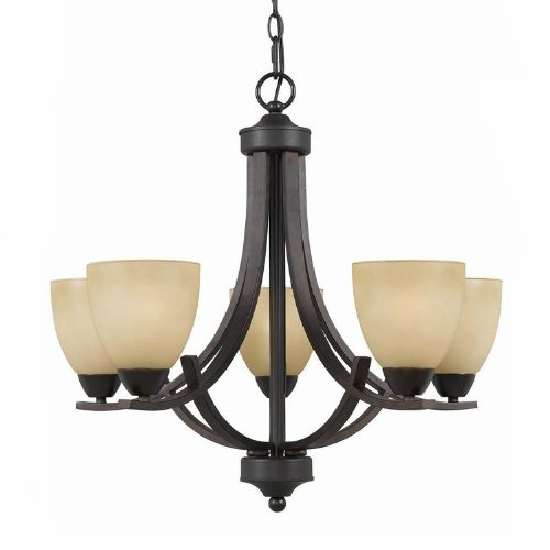 - Triarch International 33243 Value Series 240 Collection 5-Light Chandelier, English Bronze with Antiqued Cognac Painted Glass