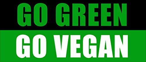 American Vinyl Go Green GO Vegan Bumper Sticker (Protect Animals no Meat Proud Love)