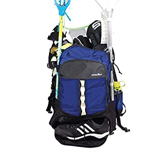 Athletico Lacrosse Bag – Extra Large Lacrosse Backpack – Holds All Lacrosse or Field Hockey Equipment – Two Stick Holders and Separate Cleats Compartment