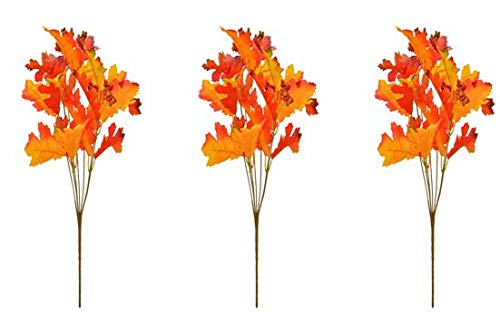 Fun Party Daze Fall Decorations Maple Leaf and Oak Leaf Bushes - Pack of 3