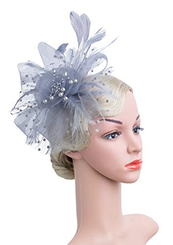 2069c19ff4e7b Cizoe Flower Cocktail Tea Party Headwear Feather Fascinators Top Hat for  Girls and Women(1