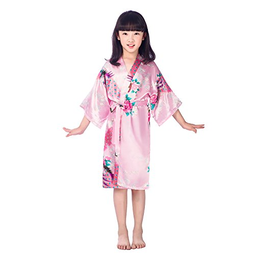 Child's Satin Kimono Robes for Girls Sleepwear Peacock Flower Robe for Spa Wedding Birthday Gift