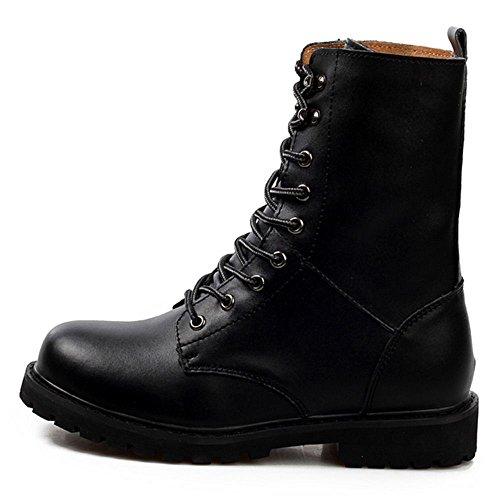 Taoffen Mens Lace Up Desert Combat Boots Scarpe Nere