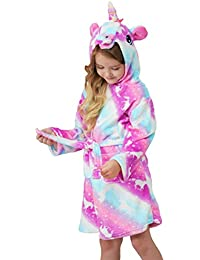 Soft Unicorn Hooded Bathrobe Sleepwear - Unicorn Gifts for Girls (8-9 Years, Pink Galaxy Unicorns)