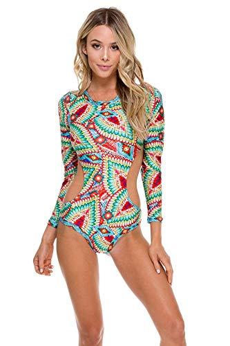 Luli Fama Women's Wild Heart Touch The Sky Bodysuit One Piece Swimsuit, Multi, XS (Fame Womens Long Sleeve)