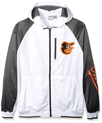 Baltimore Mens Jackets Orioles (MLB Baltimore Orioles Men's Full Zip Tricot Logo Sleeve Track Jacket with Wordmark, 3X, White/Charcoal)
