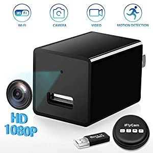 Hidden Camera, WiFi HD 1080P Mini USB Wall Charger Spy Camera, Wireless Indoor Security Nanny Cam with Motion Detection Compatible with iPhone/Android Phone/iPad/PC
