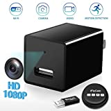 Hidden Camera, WiFi HD 1080P Mini USB Wall Charger Spy Camera, Wireless Indoor Security Nanny Cam with Motion Detection Compatible with iPhone/Android Phone/iPad/PC (Black)