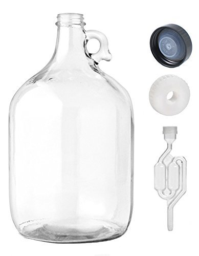 Home Brew Ohio  One gal Glass Jug With Twin Bubble Airlock, Polyseal Lid, 38 mm Screw Cap With Hole