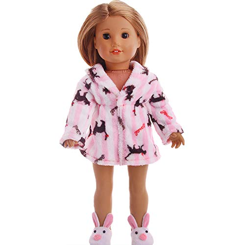Flannel Skirt Pajamas Accessories Set Toys Doll Clothes Wardrobe for 18 Inch Wellie Wishers American Girl Dolls -