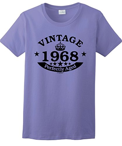 50th Birthday Gifts for Dad 50th Birthday Gift Vintage 1968 Perfect Aged Crown Ladies T-Shirt Large Violet