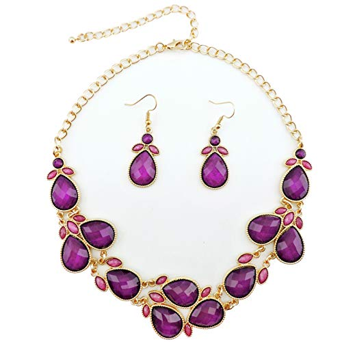 - Firstmeet Shiny Resin Drill Collar Necklace with Earrings (Purple-j)