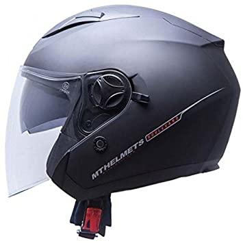MT Casco de Moto Jet Boulevard SV-Casco para Moto Doble Pantalla, Color Negro