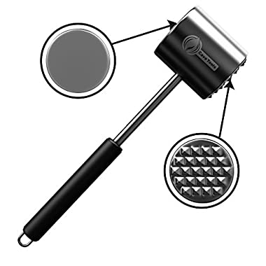 Meat Tenderizer Mallet Tool - DISHWASHER SAFE & - Manual Hammer Pounder For Tenderizing Chicken Steak Pork & Veal in Kitchen - Professional Non Slip Silicone Handle for Pounding