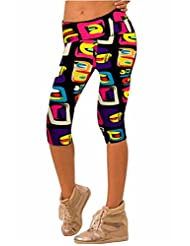 Women's Colorful Print Active Workout Capri Leggings Stretchy Tights Yoga Pants
