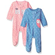 Carter's Baby Girls' 2-Pack Microfleece Sleep and Play, Owl/Sister, 6 Months
