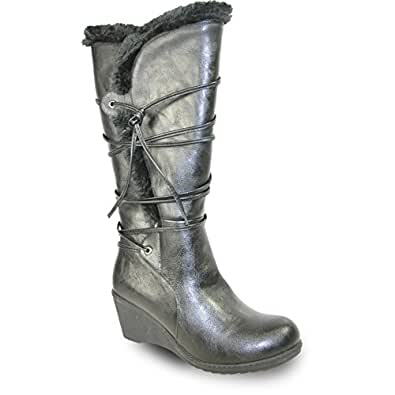 Amazon.com | KOZI Women Wedge Boot SD5502 Fur Lining