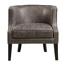 Pulaski Upholstered Barrel Accent Arm Chair, Brown Pellini Thunder Leather, Medium