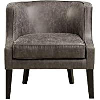 Pulaski Upholstered Barrel Accent Arm Chair, Brown Pellini Thunder Leather, Medium