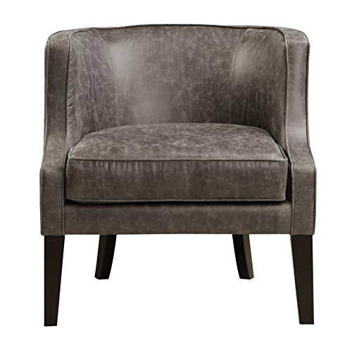 Pulaski Upholstered Barrel Accent Arm Chair, Brown Pellini Thunder Leather, Medium (Upholstered Chair Furniture Pulaski)