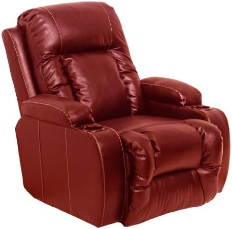 Top Gun Bonded Leather Inch-Away Manual Recliner Red