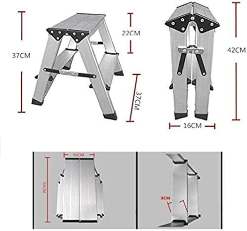 Escabeau Ménage Pliant Échelle Tabouret épais Aluminium Ladder Double Side Ladder Adulte Enfant Pedal Tabouret chaises Pliantes (Size : 2 Steps)