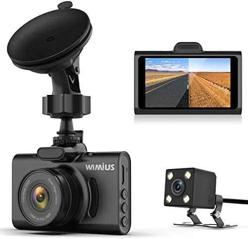 Dual Dash Cam Infrared Night Vision – WiMiUS Dash Camera 3 Super IPS Screen Full FHD 1080P Front 720P Rear Car Camera DVR Dashboard Recorder 170 Wide Angle with Sony Sensor WDR, G-Sensor