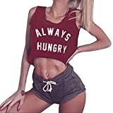 Women's Always Hungry Letter Sleeveless Camisole Tops Sleeve Fashion HimTak Tops o-Neck Camisole