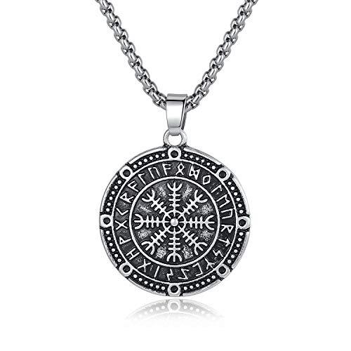 (Holyheart Vegvisir Pendant Necklace, Runic Compass Pendant Necklace, Scandinavian Norse Pendant, Handcrafted Viking Jewelry, Amulet Viking Necklace Gift for Men)