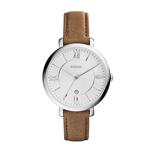 Fossil Women's Jacqueline Quartz Stainless Steel and Leather Casual Watch, Color Silver-Tone, Brown (Model: ES3708)