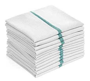 pivit Herringbone Cotton Kitchen Dish Towels | 15 x 26 White | Pack of 12 | Quick Drying Extra Strength Super Absorbency | Perfect Bar Mop Cloths for Drying Dishes Cleaning Up Spills & Wiping Hands